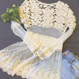 🌸 Hazel Buckle Boho Crocheted and Mesh Tunic  🌸